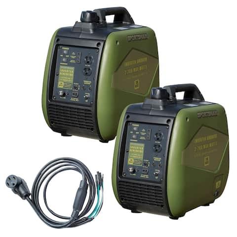 4400 Watt Gasoline Inverter Generator Kit w/ 50 Amp Parallel Cable - Green