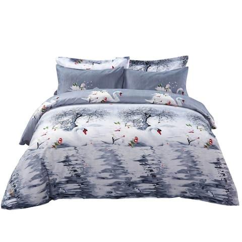 Swan Bedding Set - 6 Piece Duvet Cover Set w. Fitted Sheet