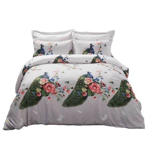 6 Piece Duvet Cover Set w. Fitted Sheet - Peacock Luxury Bedding - Multi-color