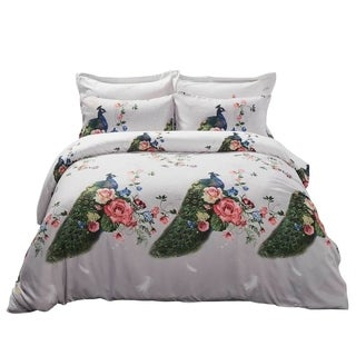 6 Piece Duvet Cover Set w. Fitted Sheet - Peacock Luxury Bedding