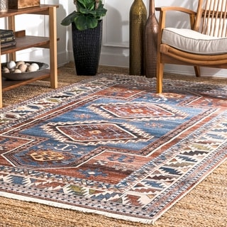 nuLOOM Blue Bohemian Tribal Abenaki Geometric Medallion Fringe Border Area Rug