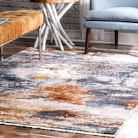 nuLOOM Multi Contemporary Modern Abstract Caddo Ombre Fringe Border Area Rug