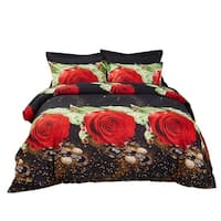 6 Piece Duvet Cover Set w. Fitted Sheet - Night Roses Luxury Bedding