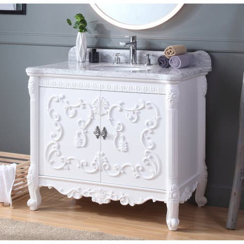 "39"" Benton Collection Belissimo Antique Style White Bathroom Vanity"