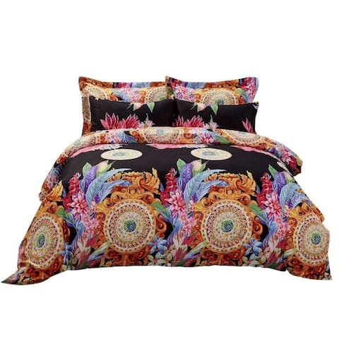 6 Piece Duvet Cover Set w. Fitted Sheet - Ecstasy Luxury Bedding - Multi-color