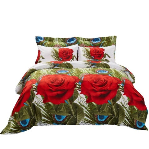 6 Piece Duvet Cover Set w. Fitted Sheet - Romeo Luxury Bedding