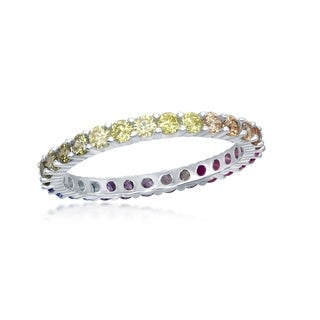 La Preciosa Sterling Silver or Gold Plated Rainbow 2mm Band Ring