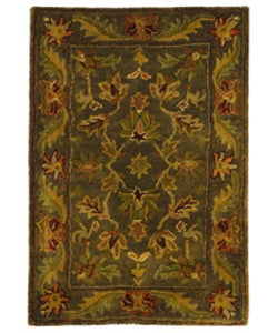 Safavieh Handmade Antiquities Kerman Charcoal Green Wool Rug (2' x 3')