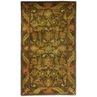 Safavieh Handmade Antiquities Kerman Charcoal Green Wool Runner (2'3 x 4')