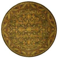 Safavieh Handmade Antiquities Kerman Charcoal Green Wool Rug (3'6 Round) - 3'6 Round