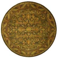 Safavieh Handmade Antiquities Kerman Charcoal Green Wool Rug (6' Round) - 6'