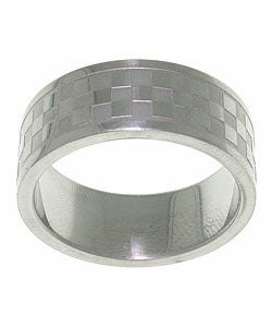 Carolina Glamour Collection Stainless Steel Checker Pattern Ring