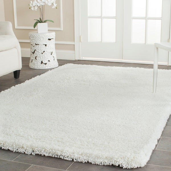 Safavieh Classic Plush Handmade Super Dense Honey White Shag Rug (5' x 8')