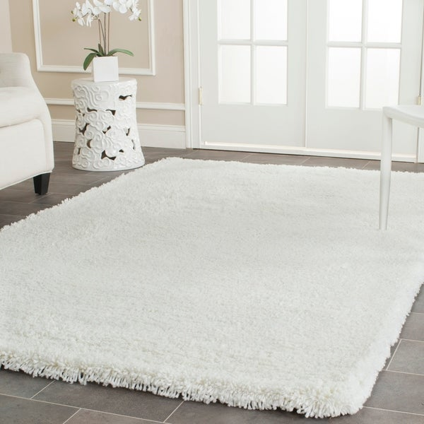 Safavieh Classic Plush Handmade Super Dense Honey White Shag Rug - 7'6 x 9'6