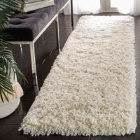 Safavieh Classic Plush Handmade Super Dense Honey White Shag Rug (4' Round)