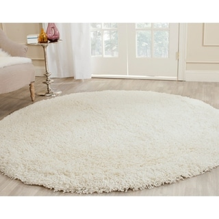 Safavieh Classic Plush Handmade Super Dense Honey White Shag Rug (6' Round)