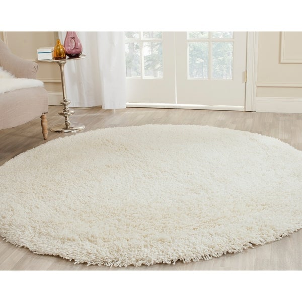 Safavieh Classic Plush Handmade Super Dense Honey White Shag Rug - 6' X 6' Round