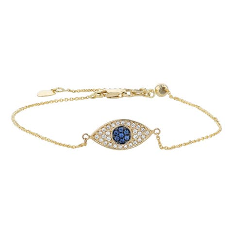 14K Yellow Gold 1/7ct. TW Blue Sapphire and Diamonds Evil Eye Charm Bracelet by beverly Hills Charm