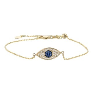 14K Yellow Gold 1/7ct. TW Blue Sapphire and Diamonds Evil Eye Charm Bracelet