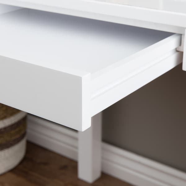 Contemporary Two Drawer Student Desk In White   Free Shipping Today    Overstock.com   10761179