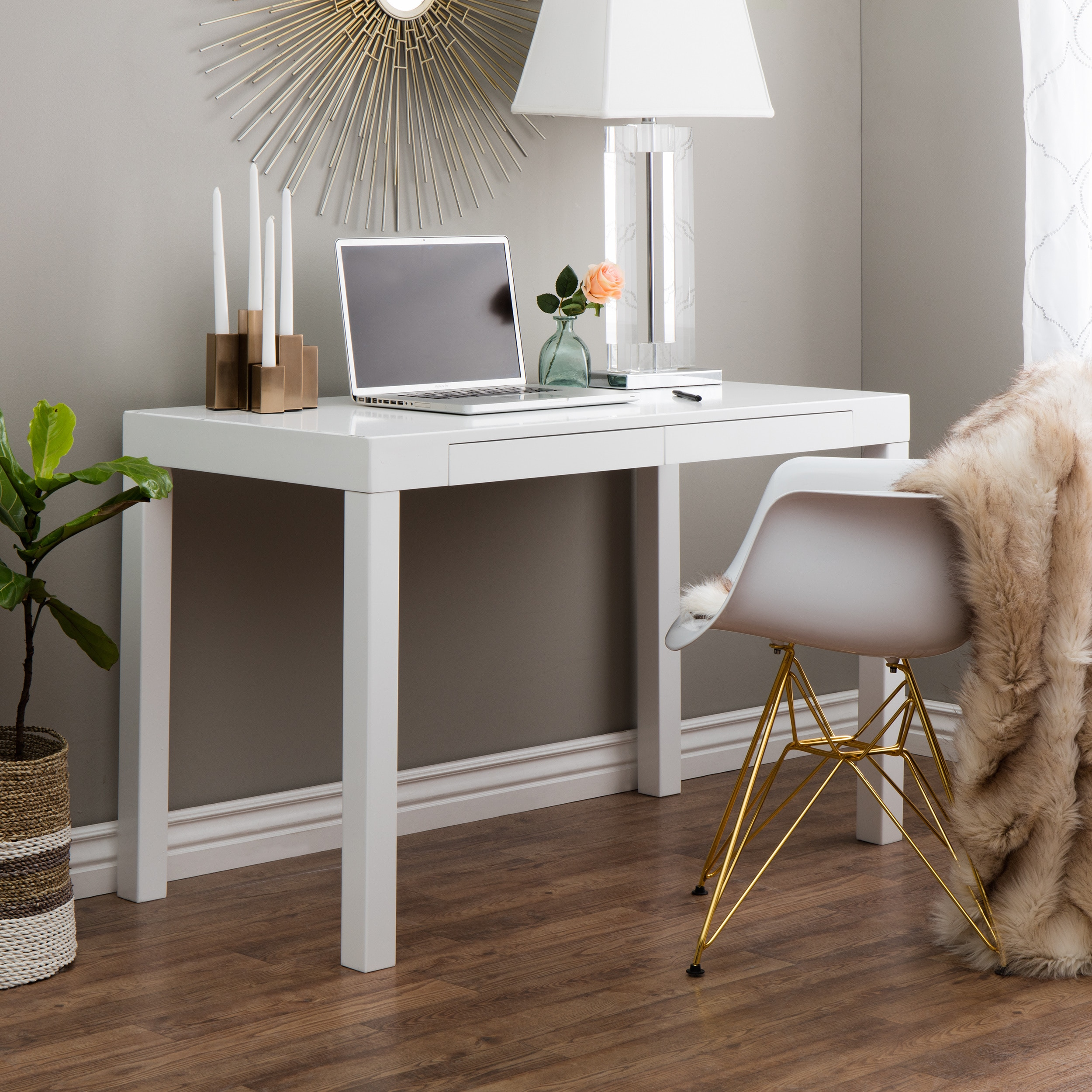 Clay Alder Home Contemporary 2 Drawer Student Desk In White