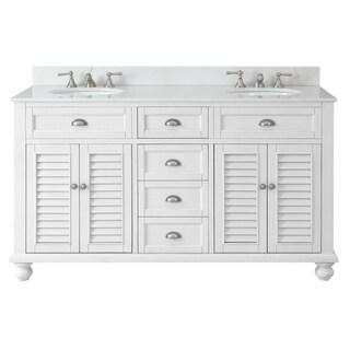 "62"" Glennville Double Sink Cottage Style White Bathroom Vanity"