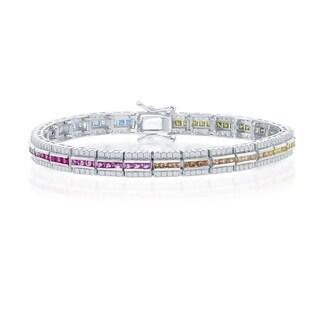 La Preciosa Sterling Silver Channel-Set w/ Rainbow CZ and w/White CZ Border Bracelet