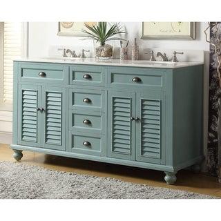 "62"" Glennville Double Sink Cottage Style Blue Bathroom Sink Vanity"