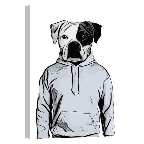 "Cortesi Home ""Cool Dog"" by Nicklas Gustafsson, Giclee Canvas Wall Art - Grey"