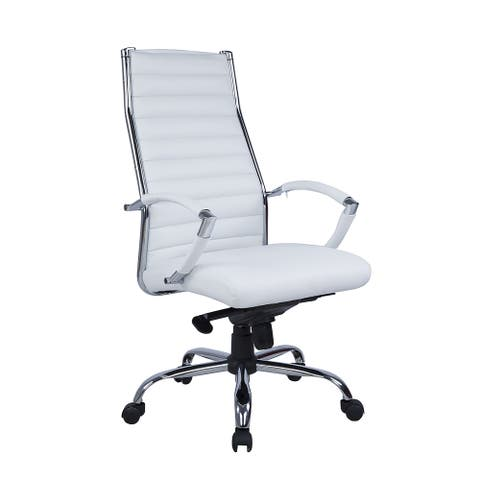 Somette Ribbed Back Computer Chair in White