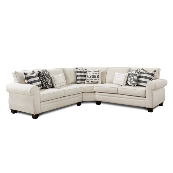 Shop Popstitch Shell L Shaped White Sectional Sofa Free Shipping