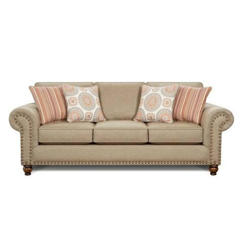 Turnio Sisal Nailhead Stationary Sofa