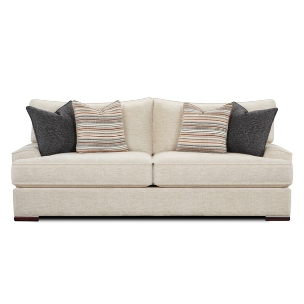 Shop Bradley Cream Fabric Upholstered Sofa Free Shipping Today