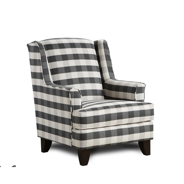 Shop Brock Charcoal Blackwhite Block Plaid Accent Chair Free
