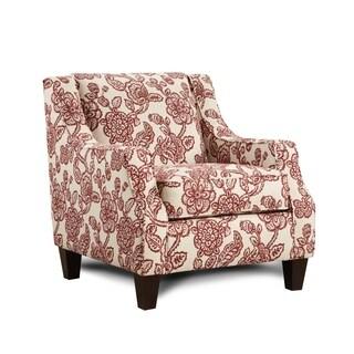 Antoinette Crimson/Cream Floral Accent Chair