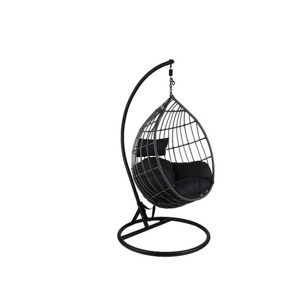 Somette San Mateo Black Rattan Swing Chair with Metal Stand