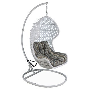 Somette Santa Rosa White Rattan Swing Chair with Metal Stand