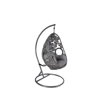 Somette Santa Clara Grey Rattan Swing Chair with Metal Stand