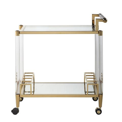 Somette Donna Acrylic Tea Cart with Mirrored Bottom