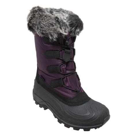 Womens Nylon Winter Boots Purple