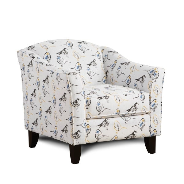 Transitional Bird Toile Brazilian Yellow Accent Arm Chair