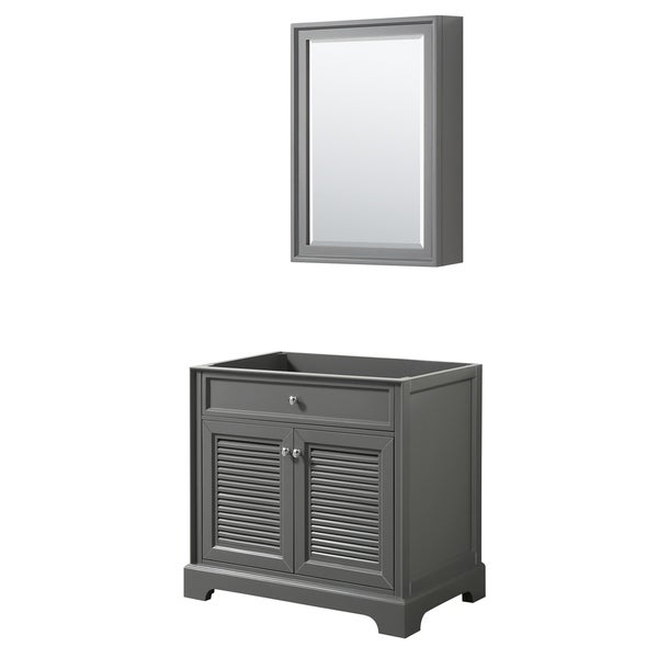 Tamara 36-inch Dark Gray Single Vanity Cabinet, Med Cab