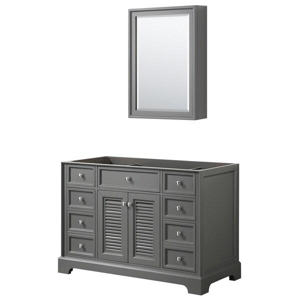 Tamara 48-inch Dark Gray Single Vanity Cabinet, Med Cab