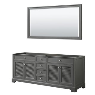 Tamara 80-inch Dark Gray Double Vanity Cabinet, 70-inch Mirror