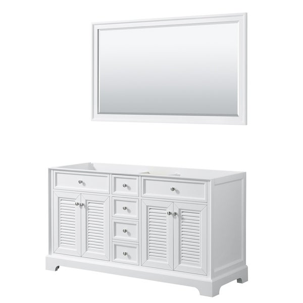 Tamara 60-inch White Double Vanity Cabinet, 58-inch Mirror