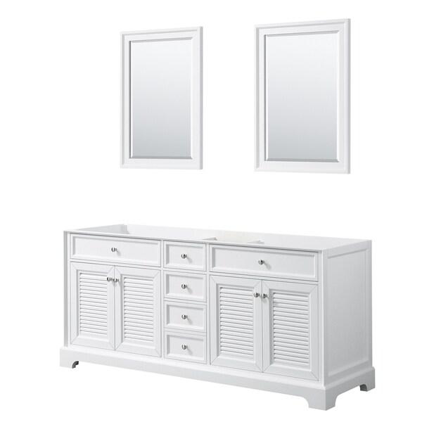 Tamara 72-inch White Double Vanity Cabinet, 24-inch Mirrors