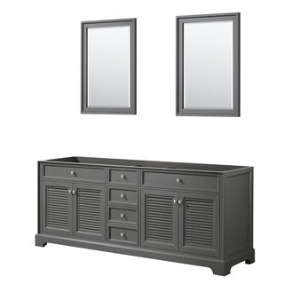 Tamara 80-inch Dark Gray Double Vanity Cabinet, 24-inch Mirrors
