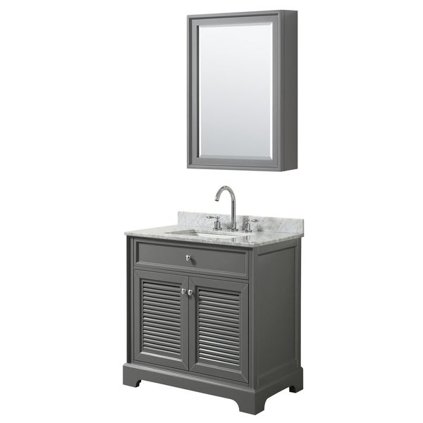 Tamara 30-inch Dark Gray Single Vanity, Square Sink, Med Cab