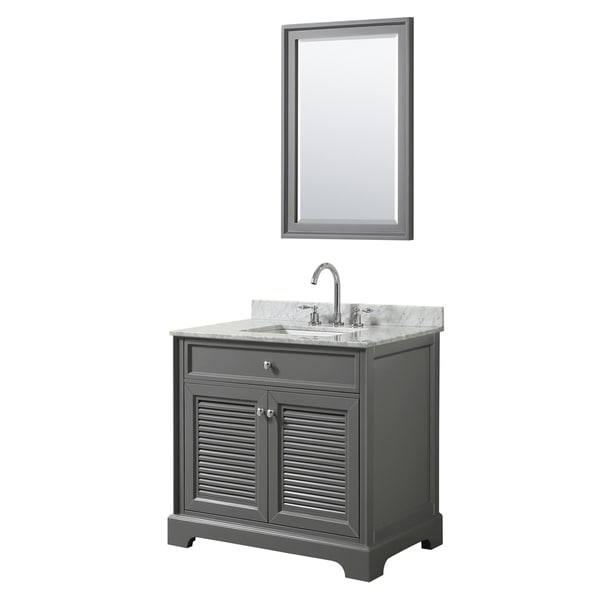 Tamara 36-inch Dark Gray Single Vanity, Square Sink, 24-inch Mirror