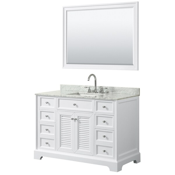 Tamara 48-inch White Single Vanity, Square Sink, 46-inch Mirror
